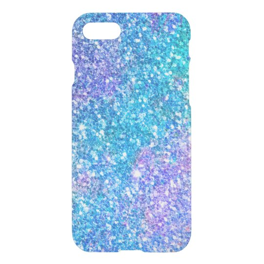 Modern Turquoise-Blue & Pink Glitter iPhone 8/7 Case