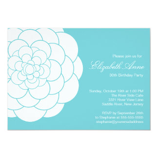 Modern Turquoise Dahlia Bloom Birthday Party Card
