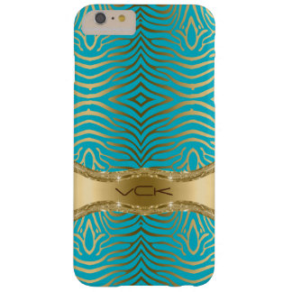 Modern Turquoise & Faux Gold Zebra Stripes Pattern Barely There iPhone 6 Plus Case