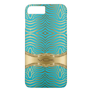 Modern Turquoise & Faux Gold Zebra Stripes Pattern iPhone 7 Plus Case