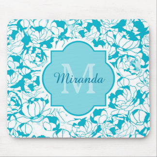 Modern Turquoise Floral Girly Monogram With Name Mouse Mat