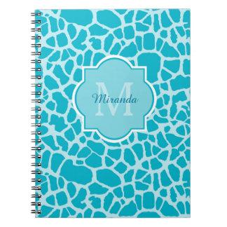 Modern Turquoise Giraffe Print Monogram With Name Notebook