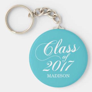 Modern Turquoise   Graduation Basic Round Button Key Ring