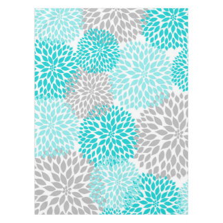 Modern turquoise gray floral tablecloth, dahlias tablecloth