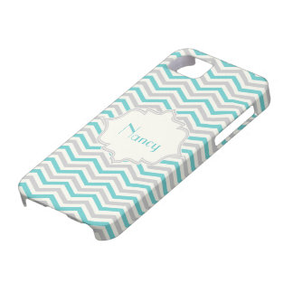 Modern turquoise, grey, ivory chevron custom iPhone 5 case