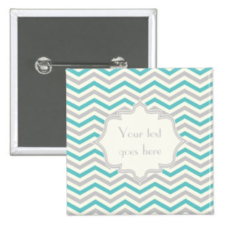 Modern turquoise, grey, ivory chevron pattern 15 cm square badge