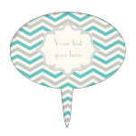 Modern turquoise, grey, ivory chevron pattern cake topper
