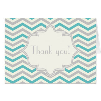 Modern turquoise, grey, ivory chevron pattern card