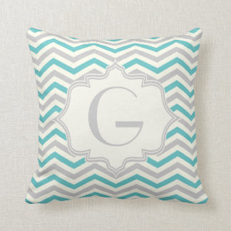 Modern turquoise, grey, ivory chevron pattern cushion