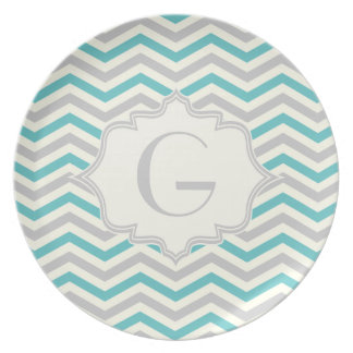 Modern turquoise, grey, ivory chevron pattern party plates