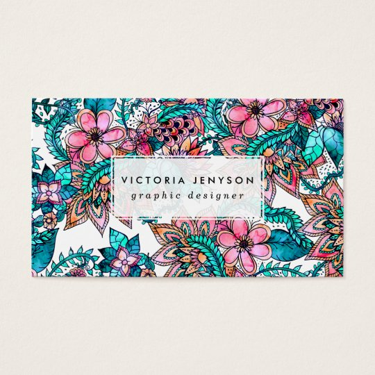 Modern turquoise pink floral watercolor business card