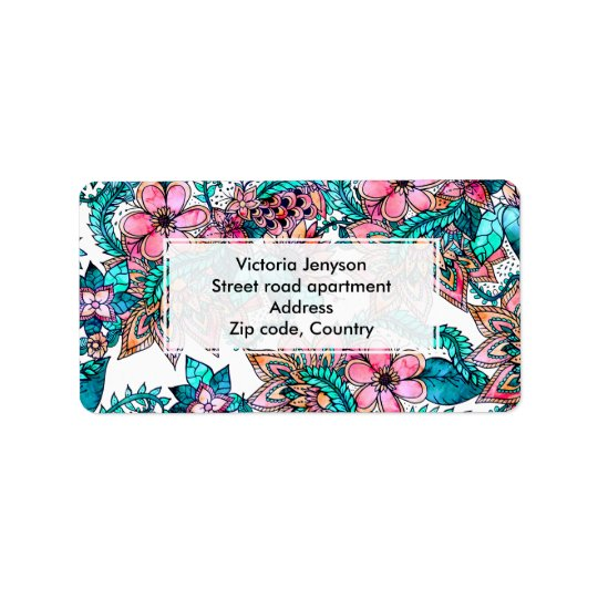 Modern turquoise pink floral watercolor label