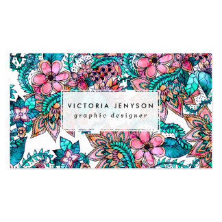 Modern turquoise pink floral watercolor pack of standard business cards