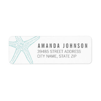 Modern Turquoise Starfish Return Address Label
