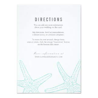"Modern Turquoise Starfish Wedding Information Card 4.5"" X 6.25"" Invitation Card"
