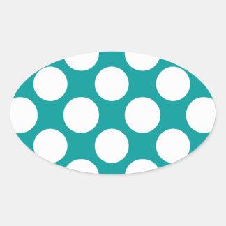 Modern Turquoise White Polka Dots Pattern Oval Sticker