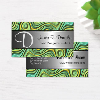 Modern Turquoise Yellow 3D Liquid Swirls Pattern Business Card