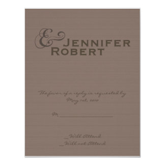 """Modern Tweed in Charcoal Response card 4.25"""" X 5.5"""" Invitation Card"""