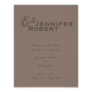"""Modern Tweed in Charcoal Save the Date card 4.25"""" X 5.5"""" Invitation Card"""