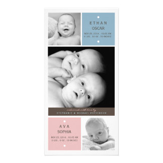 Modern Twin Babies Photo Birth Announcement Personalized Photo Card