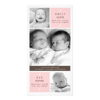 Modern Twin Girls Photo Baby Birth Announcement Card
