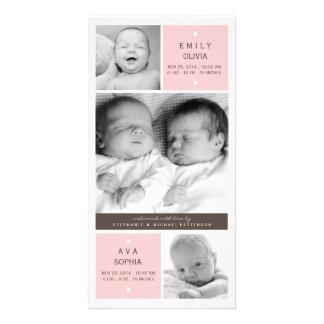 Modern Twin Girls Photo Baby Birth Announcement Card