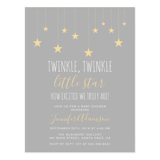 Modern Twinkle Little Star Baby Shower Postcard