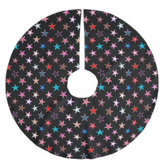Modern Twinkling Stars, Jewel Colors on Black Brushed Polyester Tree Skirt