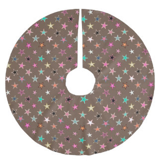 Modern Twinkling Stars, Taupe Tan & multi Pastels Brushed Polyester Tree Skirt