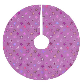 Modern Twinkling Stars, Violet, Plum and Pink Brushed Polyester Tree Skirt