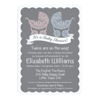 Modern Twins Baby Shower Invitation