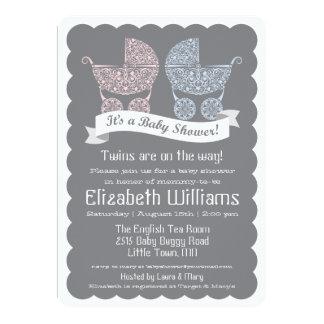 Modern Twins Baby Shower Invitation