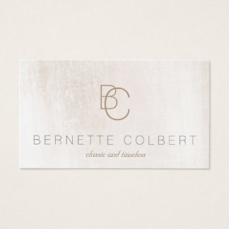 Modern Two Initial Monogram Brushed White Marble Business Card