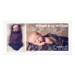 Modern Two Photo Baby Boy Birth Announcement Photo Card Template