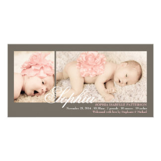Modern Two Photo Baby Girl Birth Announcement Card