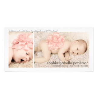 Modern Two Photo Baby Girl Birth Announcement Photo Greeting Card
