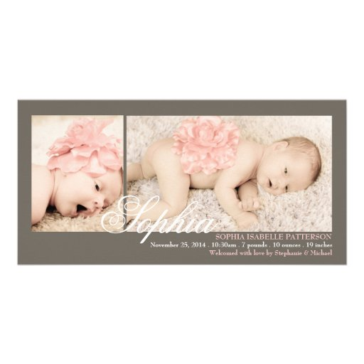 Modern Two Photo Baby Girl Birth Announcement Personalized Photo Card