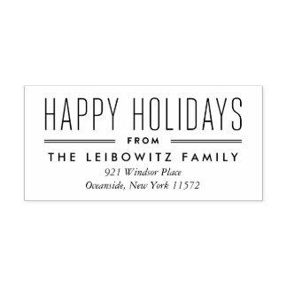Modern Type Holiday Return Address Stamp