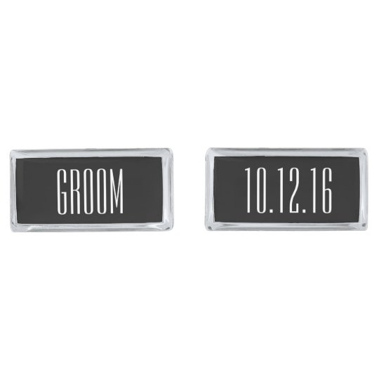 Modern Type Personalised Groom Silver Finish Cufflinks
