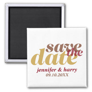 Modern type wedding save the date mocha tan brown square magnet