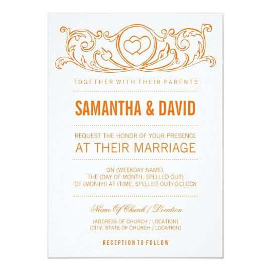 Modern Type Wedding Vintage Heart Swirls Orange Card