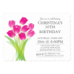 Modern Typographic Tulip Flowers Birthday Party 13 Cm X 18 Cm Invitation Card