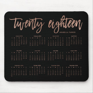 Modern Typography 2018 Calendar   Faux Rose Gold Mouse Mat
