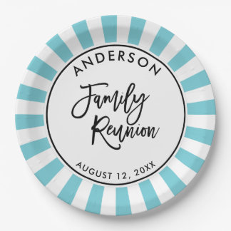 Modern Typography and Stripes Family Reunion 9 Inch Paper Plate