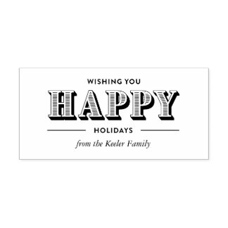 Modern Typography Custom Holiday Rubber Stamp