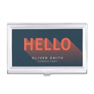 Modern Typography Dark Blue and Orange Hello Business Card Holder