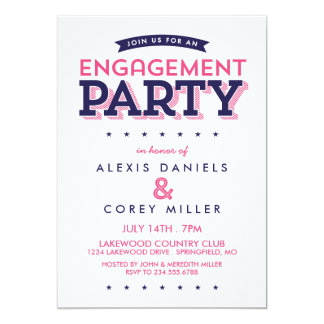 Modern Typography Engagement Party Card