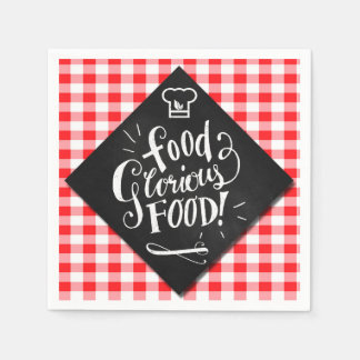 Modern Typography Foodie Lover Chalkboard Theme Disposable Napkin