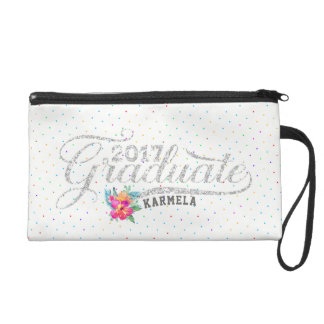 Modern Typography Graduate Colorful Dots Wristlet