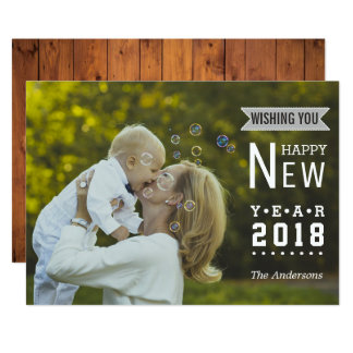 Modern Typography | Happy New Year 2018 Photo Card